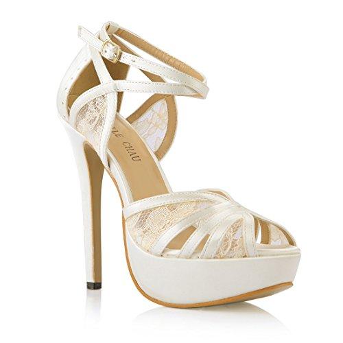CHMILE CHAU-Zapatos para Mujer-Sandalias de Tacon Alto de Aguja-Talón Delgado-Sexy-Novia o Dama-Boda-Nupcial-Vestido de Fiesta-Punta Abierta-Correa de Tobillo-Plataforma 3cm