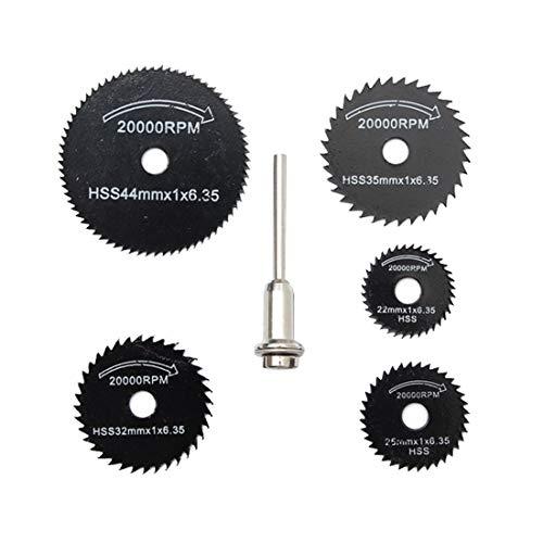 Wnuanjun 6PCS HSS Rotary Tool 22/25/32/35/44 / 50mm Circulares Hojas de Sierra Discos de Corte Mandril for Dremel Cut Off carpintería