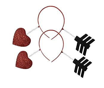 amscan Valentine s Day Arrow Headband Costume Party Head Wear Accessory  2 Pack  Red/Black 5 1/4  x 15