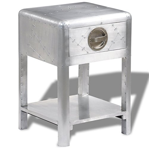 Festnight End Side Table Aluminum Bedside Nightstand with Storage Drawers and Shelf Aviator Aircraft Airman Style Living Room Home Office Furniture Silver 15.7' x 15.7' x 23.6'