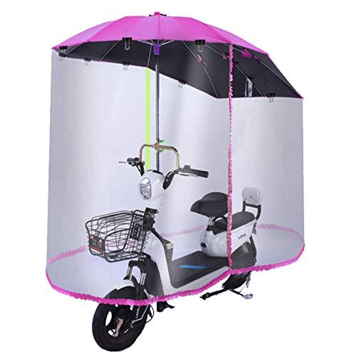 BGSFF Parasol para motocicleta, cubierta de lluvia, totalmente cerrada, para coche, eléctrico, transparente, para scooter, paraguas, cubierta impermeable, para coche, universal, color rojo, C