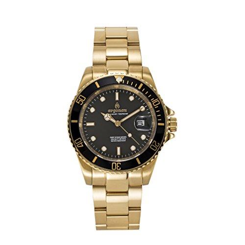 Argonau Unisex Erwachsene Analog Quarz Uhr mit Vergoldet Armband AU2011