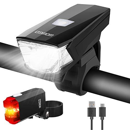 WOWGO LED Fahrradlicht Set,Fahrradbeleuchtung StVZO Zugelassen Wasserdicht USB Wiederaufladbare Fahrradlichter Fahrradlampe mit Frontlicht und Rücklicht