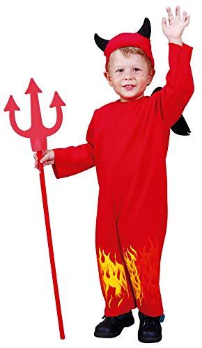 Foxxeo rotes Teufel Kostüm mit Teufelshörnern für Kinder rot Halloween Teufelin Mädchen Jungen Fasching Karneval Größe 86-92
