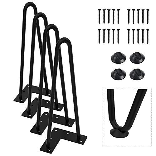 "Orgerphy 12"" Black Heavy-Duty Hairpin Coffee Table Legs (4PCS) | Diameter 3/8"" | with Screws and 4pcs Bonus Rubber Floor Protectors | Mid Century Modern Metal Legs Desk Legs Furniture Legs for DIYers"