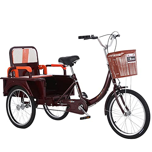 A 20-Inch Adult Pedal Tricycle A Pedal Bicycle That Can Take People to Pull Goods A High-Carbon Steel Frame A High-Load-Bearing Bicycle A Cruiser Tricycle with A Basket