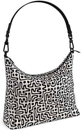The Fashion Access Hand Drawn Labyrinth Square Hobo Bag