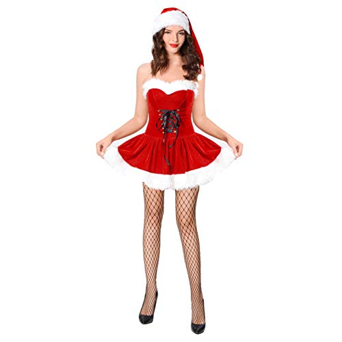 2PCS Santa Claus Costume Womens Christmas Costume Dress (L) Red