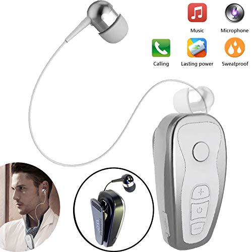 Bluetooth Headset Wireless Headphones Business Earbud Collar Clip Retractable Sports Earpiece Compatible with Women Men Samsung Huawei LG Mobile Cell Phones