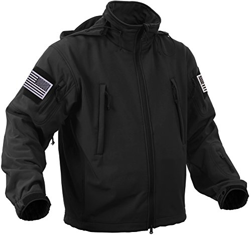 Rothco Special Ops Tactical Soft Shell Jacket with Patches Bundle (Large, Black with Silver Patches)