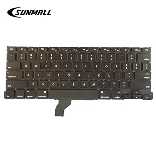 """SUNMALL Replacement Keyboard Without Backlit and Frame Compatible with Apple MacBook Pro A1502 13"""" 2013-2015 Retina Series Black US Layout, Compatible with Part Numbers ME864 ME865 ME866"""