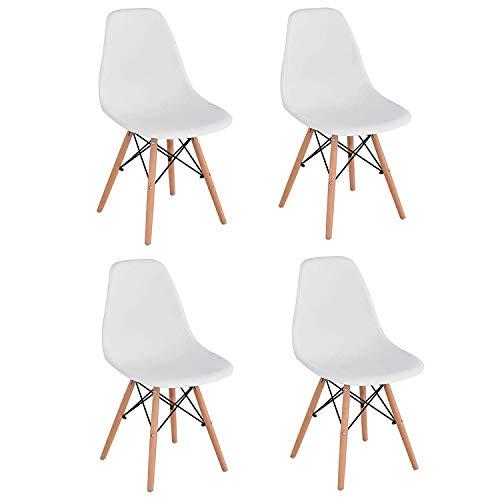 Brigros - Sedie da Cucina 4 Pezzi Bianche, sedie Moderne Design, sedie Bianche scandinave,...