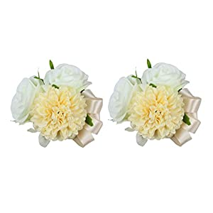USIX 2pc Pack-Handmade Artificial Rose Dahlia Flower Wrist Corsage Wristband for Girl Bridesmaid Wedding Party Prom Flower Corsage Hand Flower (Champagne Wrist Corsage x2)