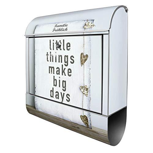Banjado Design Briefkasten personalisiert mit Motiv Little Things | Stahl pulverbeschichtet mit Zeitungsrolle | Größe 39x47x14cm, 2 Schlüssel, A4 Einwurf, inkl. Montagematerial