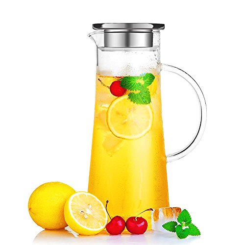Hiware Glass Pitcher With Lid and Spout - Handmade Water Carafe Great for Hot/Cold Water, Ice Tea...