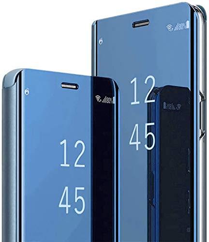 Croazhi Hülle Compatible with Galaxy S9/ S9 Plus Handyhülle Luxus PC Spiegel Handyhülle Business-Stil Voller chutzhülle Cover Resistant Stoßdämpfung Bookstyle (Blau,Galaxy S9)