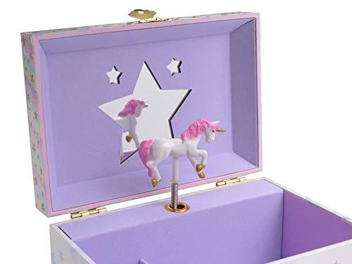 Jewelkeeper Musical Jewelry Box with 2 Pullout Drawers, Glitter Rainbow and Stars Unicorn Design, The Unicorn Tune 4