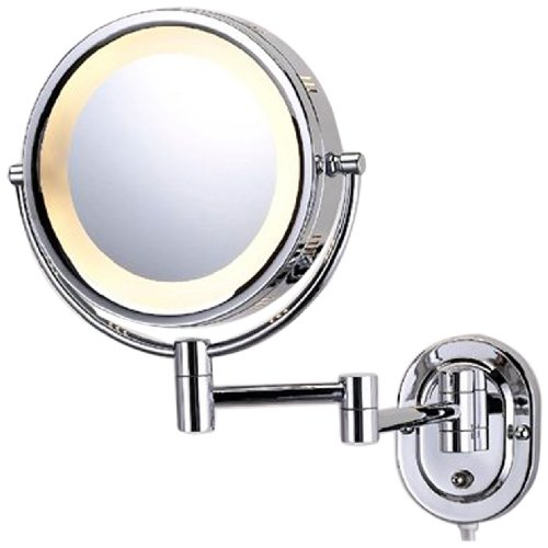 See All HLCSA895D Halo Lighted 8-Inch Diameter Wall Mounted Make Up Mirror 5X Direct Wire, Chrome