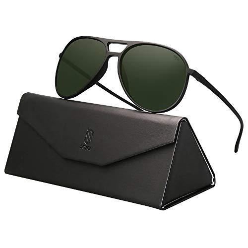 SOJOS Handgemacht Ultra Leicht Super Elastisch TR90 Pilot Damen Herren Sonnenbrille Polarisiert SJ2065 mit Matte Schwarz Rahmen/G15 Linse