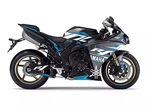 Motostick Graphics Kit de calcomanías compatible con R1 2012-2014 'Y Racing' (gris/azul)