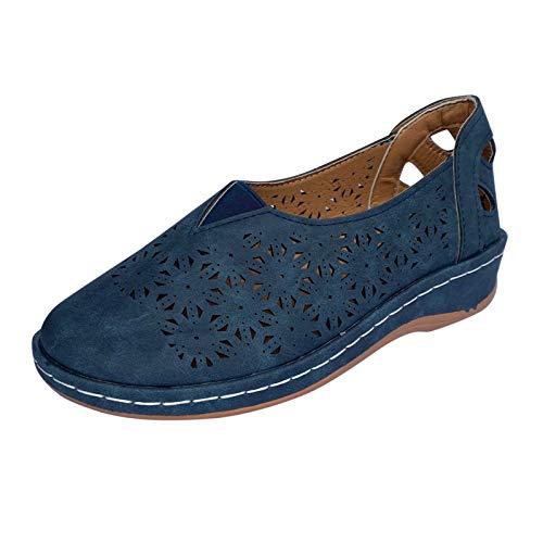 Xmiral Römische Sandalen Flach Sohle Slip-on Aushöhlen Atmungsaktive Damen Einzelschuhe Slipper(37,Blau)