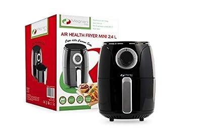 MAGNANI Friteuse à air chaud, Mini friteuse sans huile capacité de 2.4 L, Friture à air chaud à 200°, 1000 W, Facile à nettoyer