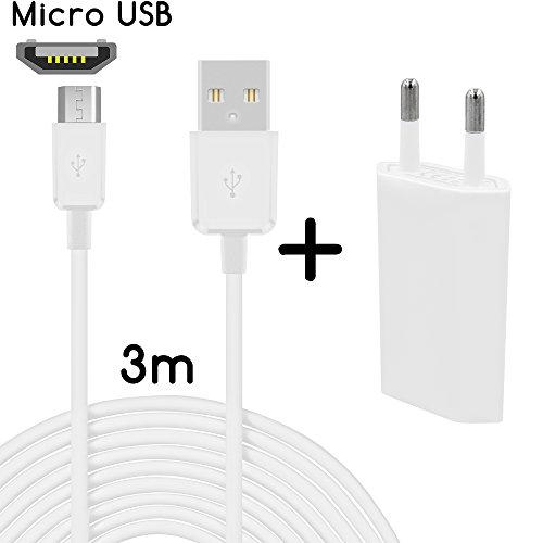 TheSmartGuard Original 2in1-Set mit Huawei Ascend P7 Netzteil Ladegerät und Huawei Ascend P7 Ladekabel (3 Meter / 3m) / Datenkabel/Kabel in weiß - NEU mit überarbeiteter Ladegeschwindigkeit!