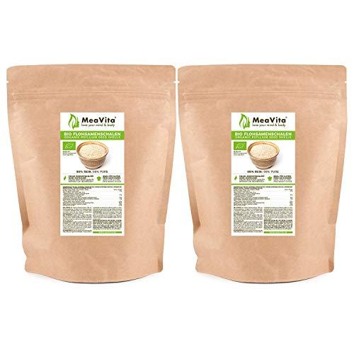 Cáscaras de psyllium orgánico MeaVita, 99% puro, (1 x 1000g) cáscaras de psyllium indio, alta fibra y vegano