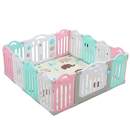 Best Prices! Z-SEAT Extra Large Baby Playpen, Safety Toddler Plastic Fence with Carpet Mat for Indoo...