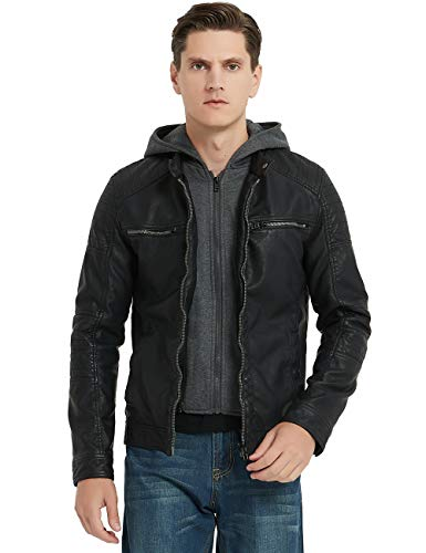 Bellivera Men's Faux Leather Jacket with Detachable Hood,Biker Jacket for Spring Fall and Winter