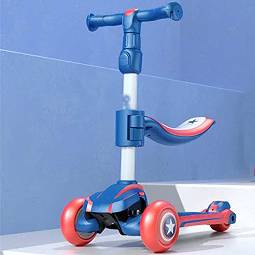Review Scooters Self Balancing 1-12 Years Old Children Bicycle Fashionable Wear-Resistant Men and Women Flash Three Wheel Skateboard (Color : Blue, Size : 60-80cm)