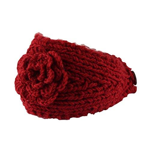 Fulltime® Ear femmes Crochet Bandeau Bandeau Knit Flower Winter Warmer Headwrap (RD)