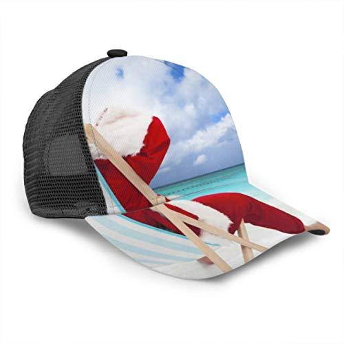 Gorra de béisbol Hombres Mujeres, Papá Noel Sentado en sillas de Playa Malla de Camionero Ajustable Gorra de béisbol con ventilación de Verano Sombrero para el Sol Gorras de béisbol para Hombre