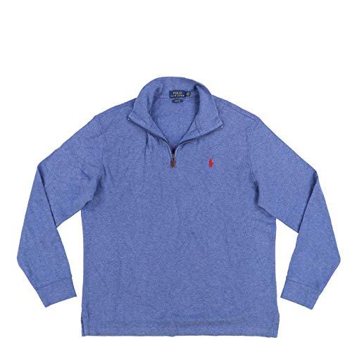 Polo Ralph Lauren Mens Quarter Zip Estate Rib Sweater (XL, Lake Blue)