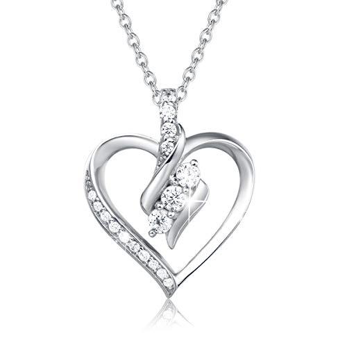 AGVANA Herz Kette Damen Halskette 925 Sterling Silber mit Funkelnd Zirkonia Anhänger Herz Silber Schmuck Beste Geschenke für Frauen Mädchen Mama Freundin,Kettenlänge 40+5cm