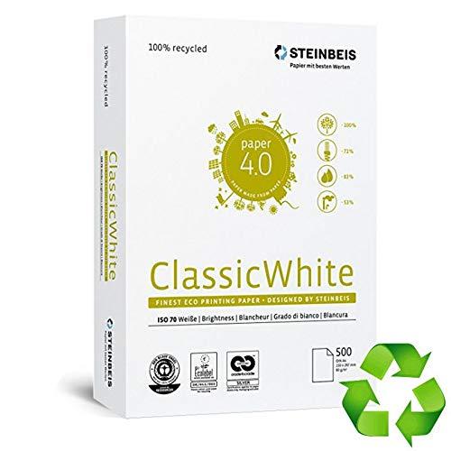 Steinbeis Classic White Recycelt A4 Papier 500 Blatt 80 g/m² hergestellt aus 100% Altpapier