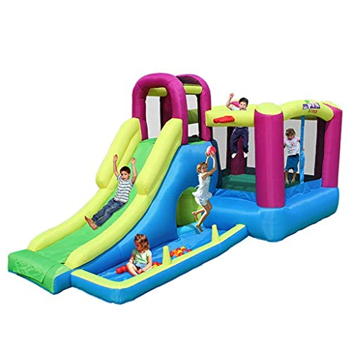 WRJY Kid Baby Toys Children's Inflatable Game Castle Multi-Function Trampoline Children's Slide Inflatable Castle Outdoor Large Playground Park for Indoor and Outdoor
