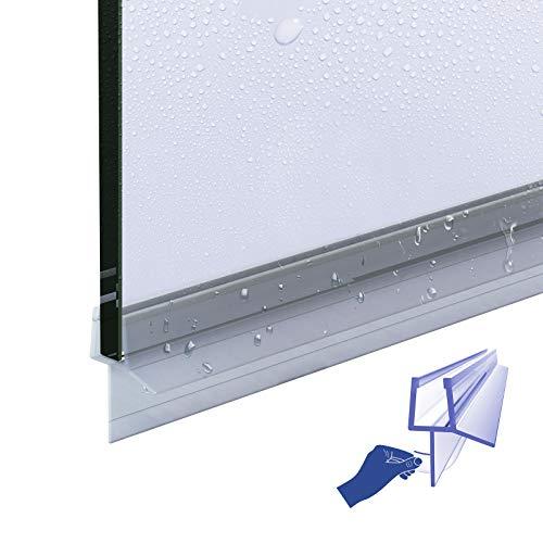 Meykoers Duschtür Dichtung Ersatzdichtung Duschdichtung 60cm,Abreißbare Bodendichtung Schwallschutz Dichtkeder mit Wasserabweiser für Duschkabine Duschwand mit 4-6mm Glasdicke