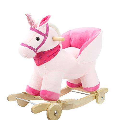 Rockeros Niño de madera del caballo de oscilación 2 en 1 felpa con la rueda de bebé for 1-4years Los niños y niñas lindo del niño del asiento del animal relleno del Presidente del niño del asiento Roc
