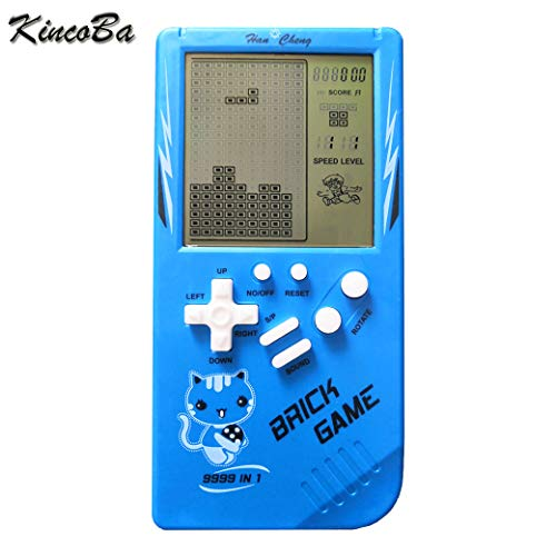 KincoBa Brick Handheld Game Machine Retro Game With 23 Classic Brick Games 3.5 Inch Screen Portable Game Controller Good Toy  For Kids(Blue)