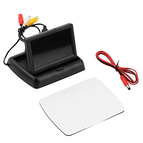 Heaviesk TFT LCD Auto Monitor Faltbarer 4,3 Zoll Bildschirm für Rückfahrkamera DVD Einparkhilfe PAL/NTSC Kompatibel Bunte Anzeige