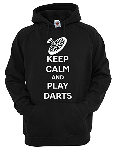 Reality Glitch Herren Keep Calm And Play Darts Kapuzenpullover (Schwarz, XX-Large)