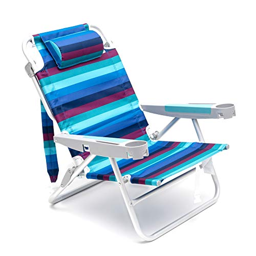 SUNNYFEEL 5Position Flat Folding Reinforced Aluminum Beach Chair Camp Chairs Outdoor Travel Backpack Chair Blue/Red Stripe