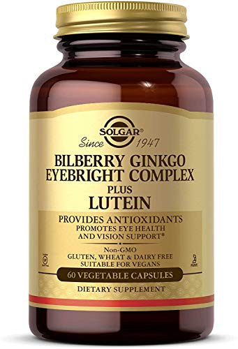 Solgar Bilberry Ginkgo Eyebright Complex Plus Lutein, 60 Vegetable Capsules Promotes Eye Health&Vision Support With Lutein & Vitamins A,C & E Non-GMO, Vegan,Gluten Free,Dairy Free,Kosher - 30 Servings