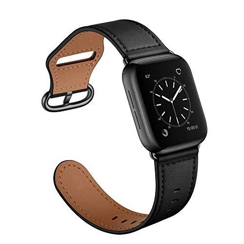 Hspcam Correa de cuero para Apple Watch Band 44mm 40mm iWatch Band 42mm 38mm Cuero auténtico Correa pulsera Apple Watch Series 3 4 5 SE 6 (42mm o 44mm), negro