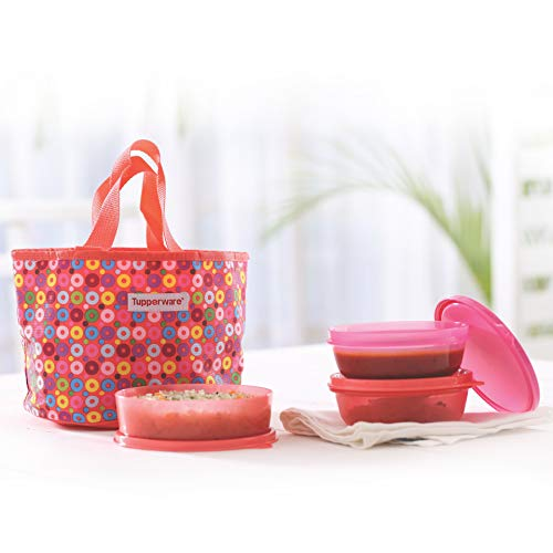 Tupperware Girl's plastic Day Out Lunch Box, 500/300ml (Peach and Pink)
