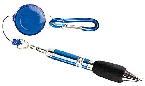 PEARL Kugelschreiberhalter: Pen-Rewinder mit Karabiner-Haken (Kugelschreiber diebstahlsicher)