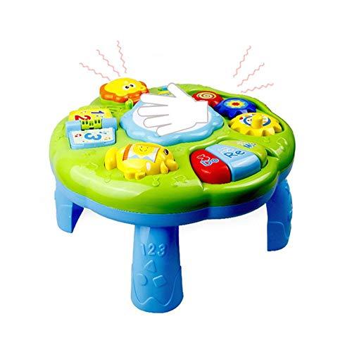 Table d'apprentissage musicale Jouets pour bébé - 6 à 12 mois Education préscolaire Table de jeu avec centre d'activités musicales, Jouet de bureau musical avec piano Pat Drum Light Up pour bébés