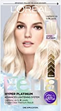 L'Oreal Paris Feria Hyper Platinum Advanced Lightening System Hair Bleach, Hair Lightening Up To 8 Levels, Platinum Blonde Hair Results, With Anti Brass Purple Conditioner
