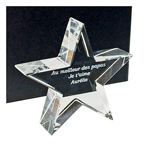 Mi regalo de cristal – Trofeo regalo de estrella personalizada de cristal – Texto personalizado – grabado láser en 3D en Francia